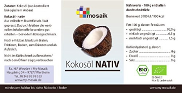 my mosaik Bio Kokosöl nativ - 500ml PE Becher - 2